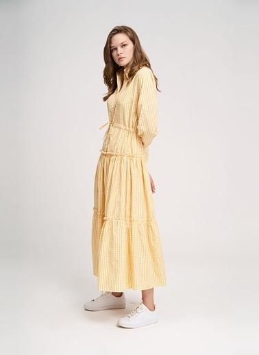 Mizalle Youth Kareli Gömlek Elbise Sarı